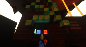 Armorsmith preparing to grief water source blocks in the Nether and his trademark Hammer And Sickle.