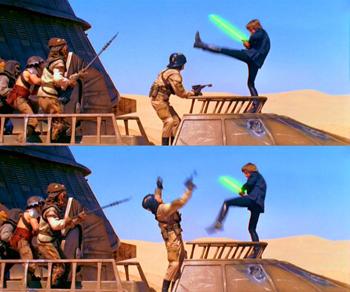 Luke Skywalker defeats one of Jabba's henchmen using the Jedi power Force kick.