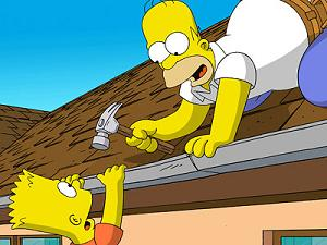 If you're guessing that he falls, you're half right: the roof caves in and Homer falls through it into the living room