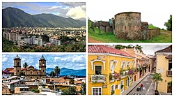Clockwise from top left: downtown Cortez with Las Montañas Trillizas visible in the background, remnants of the city walls of Old Cortez at Capa Mirador, San Cristobal Cathedral in the Old Quarter and a quiet street in Mercado del Bígaro