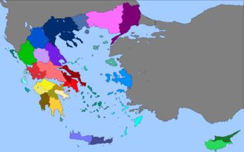 Provincial map of Hellas