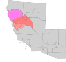 Location of the Styxie (light red) in Sierra; the northeastern parts of Santa Clara (white dashed) are always considered part of the Styxie while the entire province is usually but not always included and all of Plumas (pink) is similarly considered a part of the Styxie