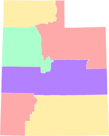 Map of the Deseret and its five areas