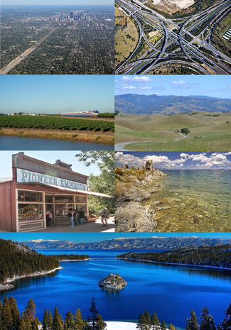 Clockwise from top left: skyline of Bernheim, aerial view of San Joaquin's capital from the southbound; the Interprovincial 5-K.S. Scenic Route 4 interchange in Downtown Bernehim, San Joaquin; a view of Mount Hamilton from the Diablo Range in Santa Clara; view from Mono Lake, San Joaquin; view of Lake Tahoe from Emerald Bay in Plumas; a general store in Juno, Plumas; a commuter train en route to Lathrop from Tracy, San Joaquin.