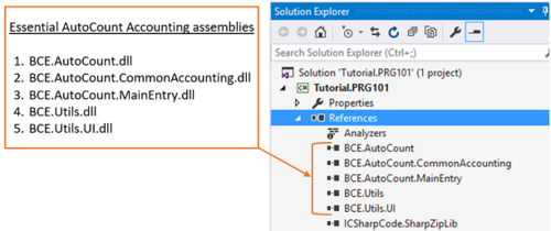 Add AutoCount Accounting base assemblies to project's references