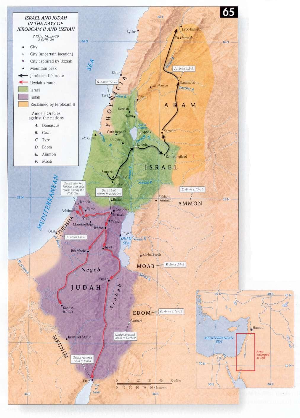 Kaart Israël Juda Uzzia Jerobeam II Amos.jpg
