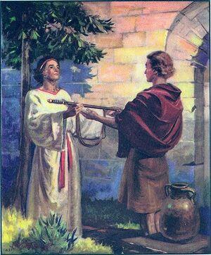 Jonathan schenkt zijn zwaard aan David.jpg