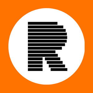 The letter R composed of black bars mimicking a censored document, centered in a white filled circle enclosed in a filled orange square.