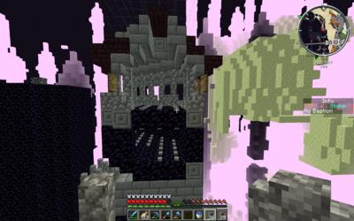Obsidian landmark with tunnel framework in the End Castle
