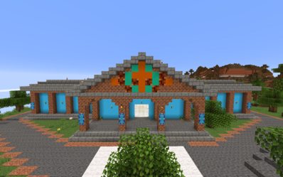 Building called the forum in corinth which holds small player made shops