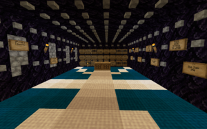 Obsidian building with chests displaying values for trades of diamond enchanted tools for diamonds