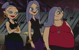 The three ladies of the dinner theatre.