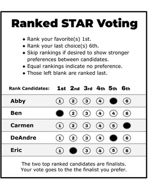 Instructions: Rank your favorite(s) 1st. Rank your last choice(s) 6th. Skip rankings if desired to show stronger preferences between candidates. Equal rankings indicate no preference. Those left blank are ranked last.