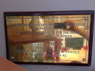 6WHD11 HU Hayes Brass plate donating Hoole Bank House to NI Blind 1921.jpg