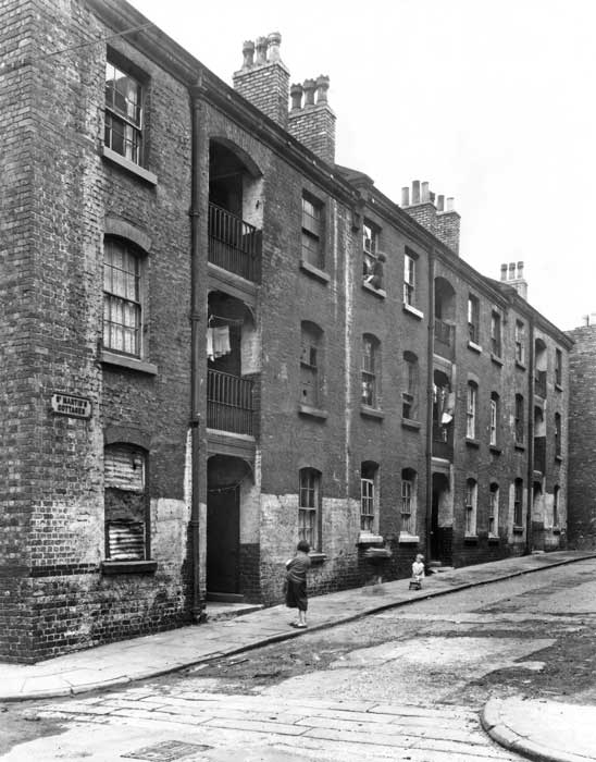 St Martin's Cottages, completed 1869 in Vauxhall, Liverpool. 1954 photograph.
