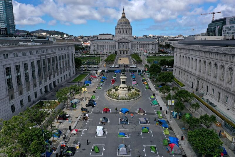 Safe Sleeping Village, at San Francisco's Fulton Mall near Civic Plaza, May 2020. photo by Justin Sullivan