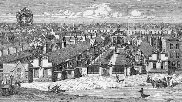 Trinity Almhouses, London, built in 1695. Image from The Survey of London, 1896.