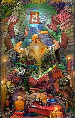 Anciano leyendo y levitando textos
