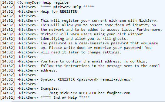 Freenode IRC webchat query nickserv help register.png