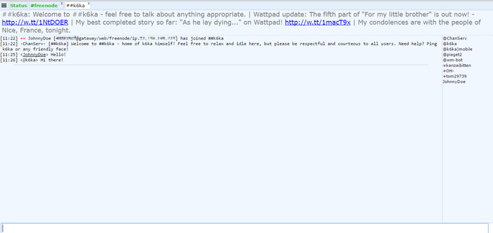 Freenode IRC webchat k6ka channel messages.png