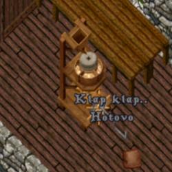 obrázek mlýna na mouku ze hry vedle leží pytel s moukou nad pákou jsou slova klap klap a hotovo