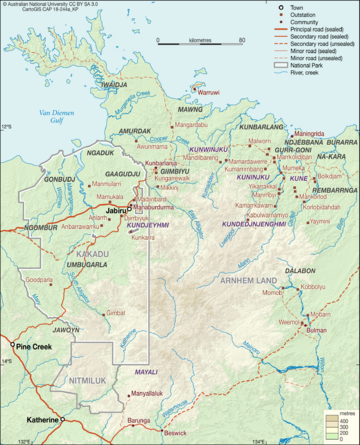 Kakadu and West Arnhem Language Map, featuring the six dialects of Kunwok (purple)