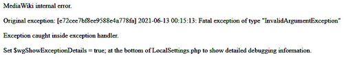 MediaWiki internal error (13 jun 2021)