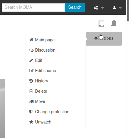 """Screenshot showing the page """"Actions"""" menu with editing options."""