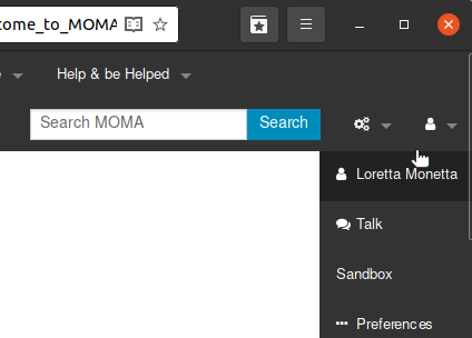 Showing the User Menu of a logged in user.