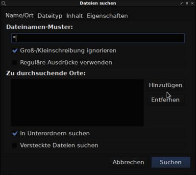 Suchfunktion vom PCMan File Manager