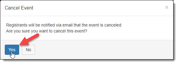 Cancel Event Yes