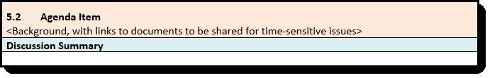 Screen print of Agenda Item Example