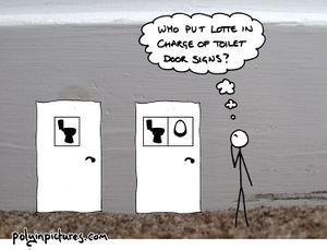 A comic of one nonbinary person's ideal public toilet situation; toilet doors with signs of toilets and urinals, rather than the usual male/female symbols.