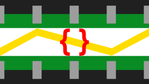 Machinegender pride flag. Top of flag is a dark gray, almost black bar, with five silver rectangles protruding perpendicular to it, as though it's a circuit chip. Next bar below that is green, as though embedding the circuit chip into the bar. This is reflected in the bottom row reversed. Middle row is white, with yellow lightning overlaid on it. Overlaid on that is a pair of matching red curly braces.