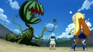 «Oh no! I cocomeri si sono trasformati in una gigantesca pianta mutante! Non vorrà mica vendicarsi per il nostro spuntino?»