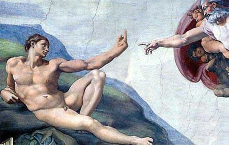 Adamo è inizialmente riluttante ad accettare il tocco divino.