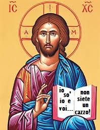 «Dogma N°4: Gesù Cristo è vero Dio e vero uomo Quindi è normale che se la tiri.»