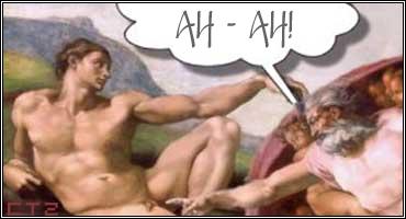 Creazione di Adamo. Dio sbeffeggia Adamo.jpg