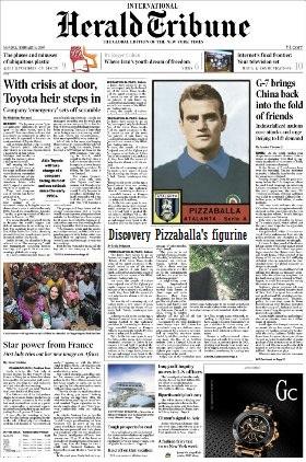 La beneaugurante notizia del ritrovamento di una figurina di Pizzaballa riportata dall'Herald Tribune.