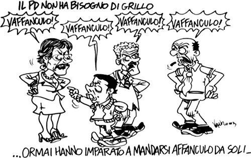Vignetta Vauro su PD che si manda a fanculo.jpg