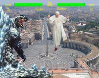 Gojira tai Ratzinga Z (Grosso guaio al Vaticano), screenshot dell'epico scontro.