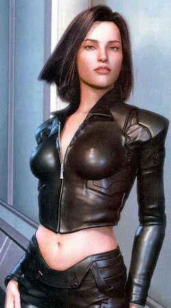 Un'altra immagine ritraente la dottoressa Aki Ross vestita in latex. Purtroppo la Squaresoft ritirò quelle in cui la giovane era raffigurata legata al soffitto mentre Gray Edwards la sculacciava.