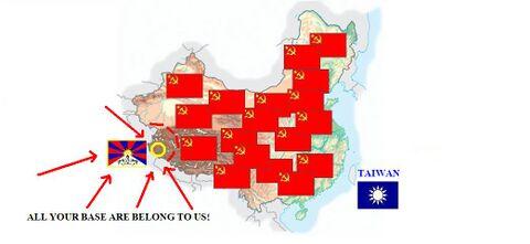 21 febbraio 1949: a causa della grande tenacia difensiva di Chiang Kai Shek, passano ben 15 anni prima che il PCC possa conquistare i territori all'estremo est della Cina. Dunque tutti gli esponenti del Kuomintang si ritirano presso Taiwan, un'isola inventata lì per lì abitata soltanto da donne con le gonne fatte di foglie e con i gusci di cocco al posto dei reggiseni. Ancora oggi qualche soldato cinese attende il ritorno di coloro che sono scappati sull'isola per dargliele di santa ragione. Mao ordina di ricoprire tutta la Cina con enormi bandiere e di circondare (in maniera poco ortodossa) il Tibet.
