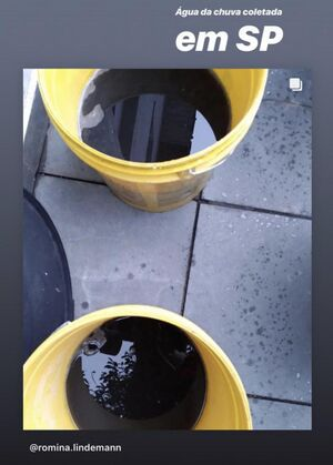 Black rainwater collected in buckets by a citizen of São Paolo