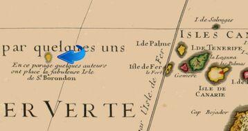 """Detalle del Mapa del norte de África de 1707 según Guillaume Delisle. """"Carte de la Barbarie de la Nigritie et de La Guinee."""