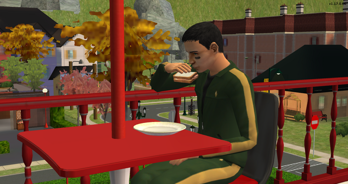 Serge eating a lunch meat sandwich at the gym.png