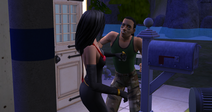 Serge shoving Felicia for kicking his trash can.png