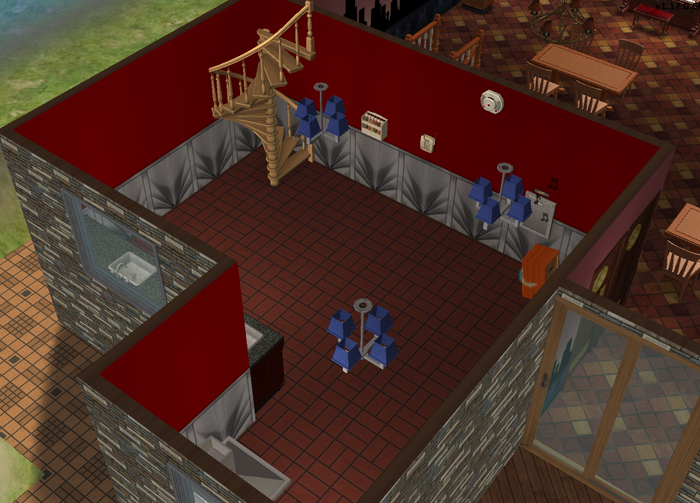 Amar's Restaurant kitchen isometric looking towards stairs.png