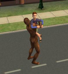 Bigfoot hugging a child.png
