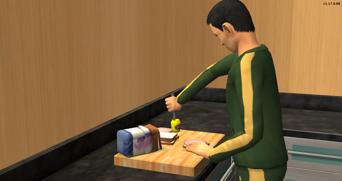 Serge making himself a lunch meat sandwich at the gym.png